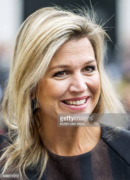 Dutch Queen Maxima visits Power Play in Warffum The Netherlands on November6 one of the participants of Kinderen Maken Muziek a cooperation of a fund...