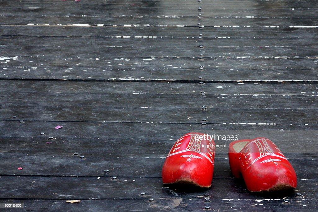 Dutch red clog : Stock Photo