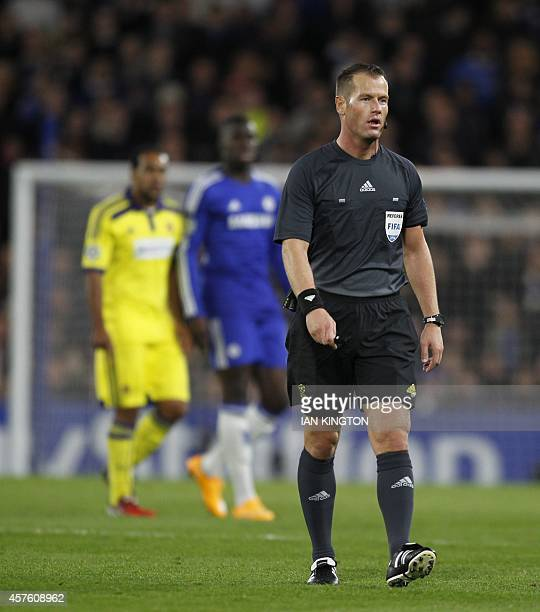 Dutch referee Danny Makkelie is seen during the UEFA Champions League Group G football match between Chelsea and Maribor at Stamford Bridge in London...