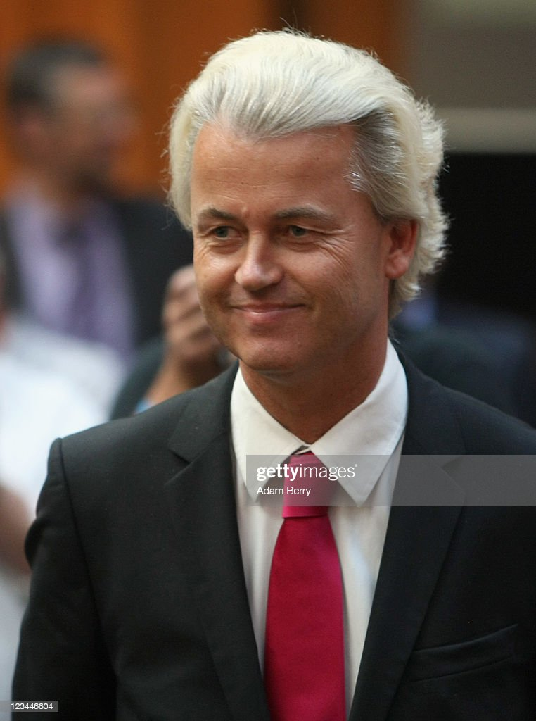 Dutch right-wing politician <a gi-track='captionPersonalityLinkClicked' href=/galleries/search?phrase=Geert+Wilders&family=editorial&specificpeople=5053412 ng-click='$event.stopPropagation()'>Geert Wilders</a> arrives for a Freiheit (Freedom) Party rally on September 3, 2011 in Berlin, Germany. The Freiheit party, whose core issue is the criticism of Islam, was founded in 2010 after Chairman Rene Stadtkewitz invited Wilders to Berlin and was ousted from the Christian Democratic Union (CDU).