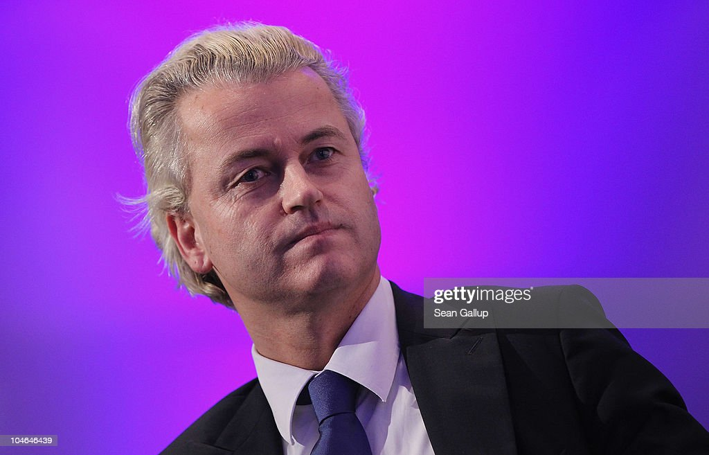 Dutch right-wing politician <a gi-track='captionPersonalityLinkClicked' href=/galleries/search?phrase=Geert+Wilders&family=editorial&specificpeople=5053412 ng-click='$event.stopPropagation()'>Geert Wilders</a> arrives to speak to supporters on October 2, 2010 in Berlin, Germany.Wilders came on the invitation of German renegade former Christian Democrat (CDU) Rene Stadtkewitz, an outspoken Islam crisitc. Wilders is seeking to create an international alliance of critics of Muslim immigration in Germany, France, the United Kingdom, the United States and the Netherlands.