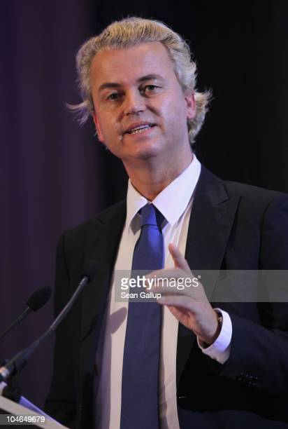 Dutch rightwing politician Geert Wilders speaks to supporters on October 2 2010 in Berlin Germany Wilders came on the invitation of German renegade...