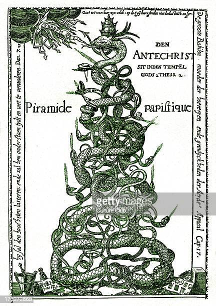 Dutch satirical engraving entitled 'The Papal Pyramid' The Papacy is represented as a pyramid of serpents being struck on the tongue by lightning...