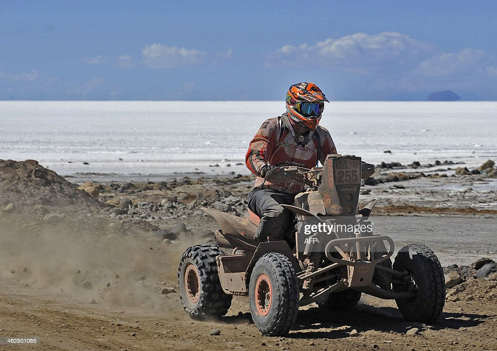 Dutch Sebastian Husseini competes during the 2014 Dakar Rally stage 8 between Uyuni Bolivia and Calama Chile on January 13 2014 AFP PHOTO/Jorge Bernal