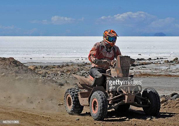 Dutch Sebastian Husseini competes during the 2014 Dakar Rally stage 8 between Uyuni Bolivia and Calama Chile on January 13 2014 AFP PHOTO/Jorge Bernal
