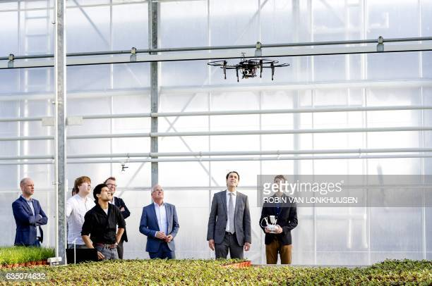 Dutch Secretary of Economic Affairs Martijn van Dam watches a drone during a visit at Bunnik pot plant nursery in Bleiswijk on February 13 2017...