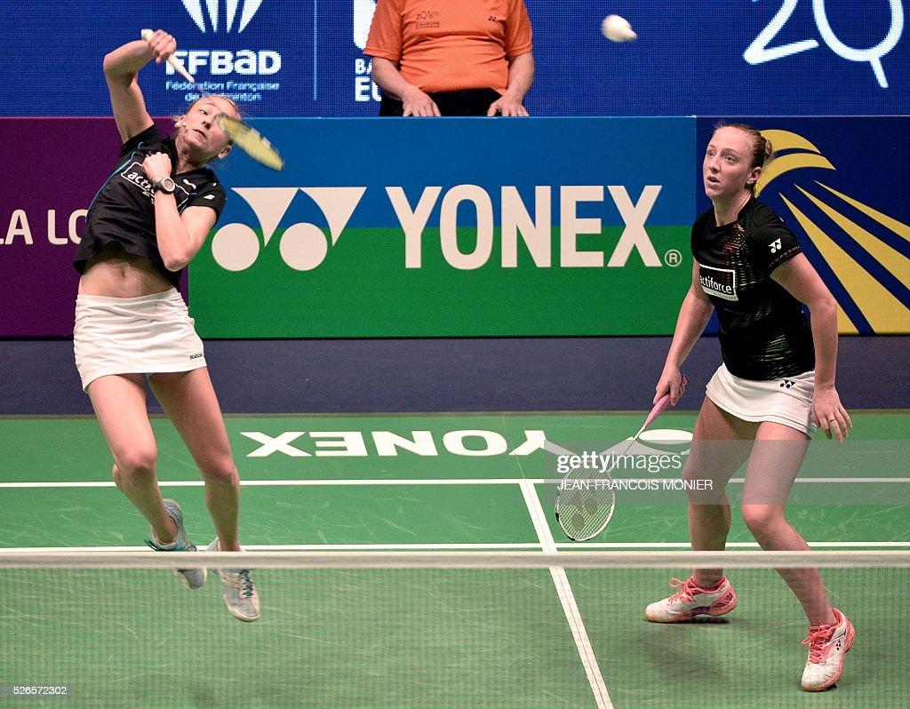 Dutch Selena Piek L flanked by teammate Eefje Muskens R hits