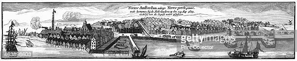 Dutch settlement of New amsterdam later to become New York 1673 Engraving