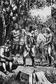 1609 Dutch settlers trading with Native Americans in the Hudson Valley