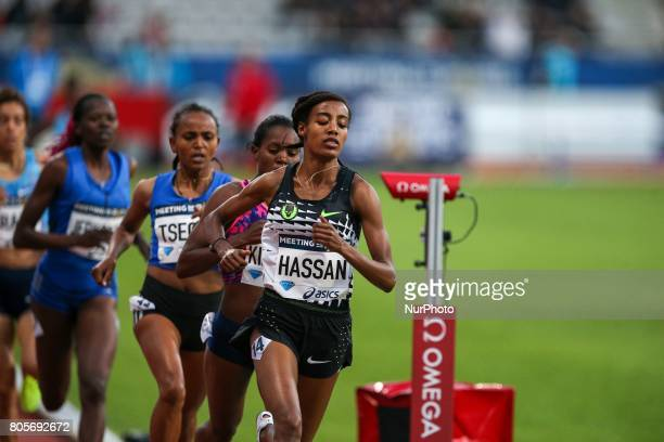 Dutch Sifan Hassan competes during the women's 1500 meters within the International Association of Athletics Federations Diamond League in Paris...