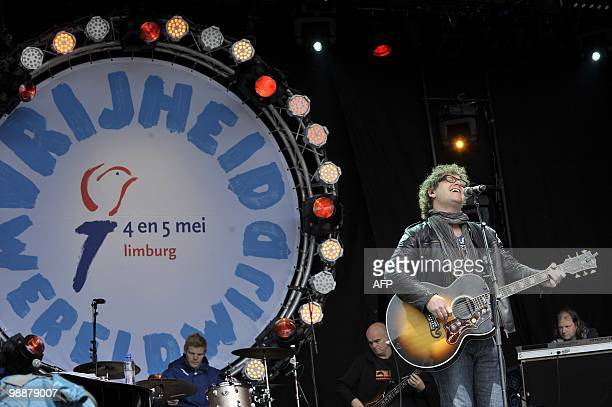 Dutch singer Guus Meeuwis performs on stage on Liberation Day in Roermond May 5 2010 Liberation Day is celebrated each year on May 5 in the...