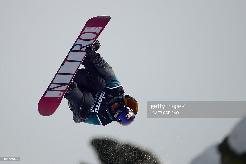 Dutch snowboarder Dimi De Jong competes in the Men's Half-Pipe final race at the Snowboard and FreeStyle World Cup Super finals at Sierra Nevada ski resort near Granada on March 27, 2013. Dimi De Jong took fourth place of the event.