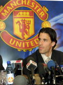 Dutch soccer player Ruud Van Nistelrooy addresses media at Old Trafford in Manchester 27 April 2001 Van Nistelrooy will be playing for Manchester...