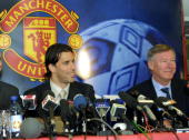 Dutch soccer player Ruud Van Nistelrooy and Manchester United manager Sir Alex Ferguson addresses media at Old Trafford in Manchester 27 April 2001...