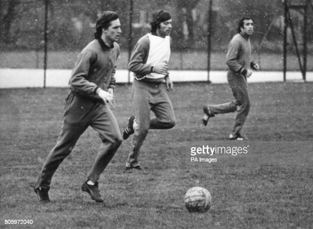 Dutch soccer superstar Johan Cruyff left training with other members of the Barcelona squad in a snowfall at Apperley Bridge Bradford