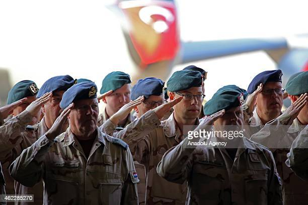 Dutch soldiers are seen during the handover ceremony on January 26 2015 at the Patriot missiles deployment in Adana Turkey Dutch Collonel Niels...