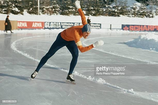 Dutch speed skater Ard Schenk pictured competing in a speed skating event in 1967