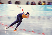 Dutch speed skater Sandra Zwolle competes in the women's 1000m at MWave during the 1998 Winter Olympic games