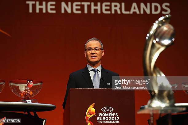 Dutch sports journalist Diana Kuip on stage with UEFA director of competitions Giorgio Marchetti UEFA Women's EURO Final Tournament Draw Ambassador...