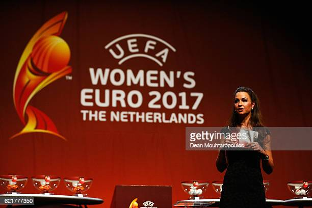 Dutch sports journalist Diana Kuip speaks on stage during the UEFA Women's EURO 2017 Final Tournament Draw held at the Luxor Theater on November 8...