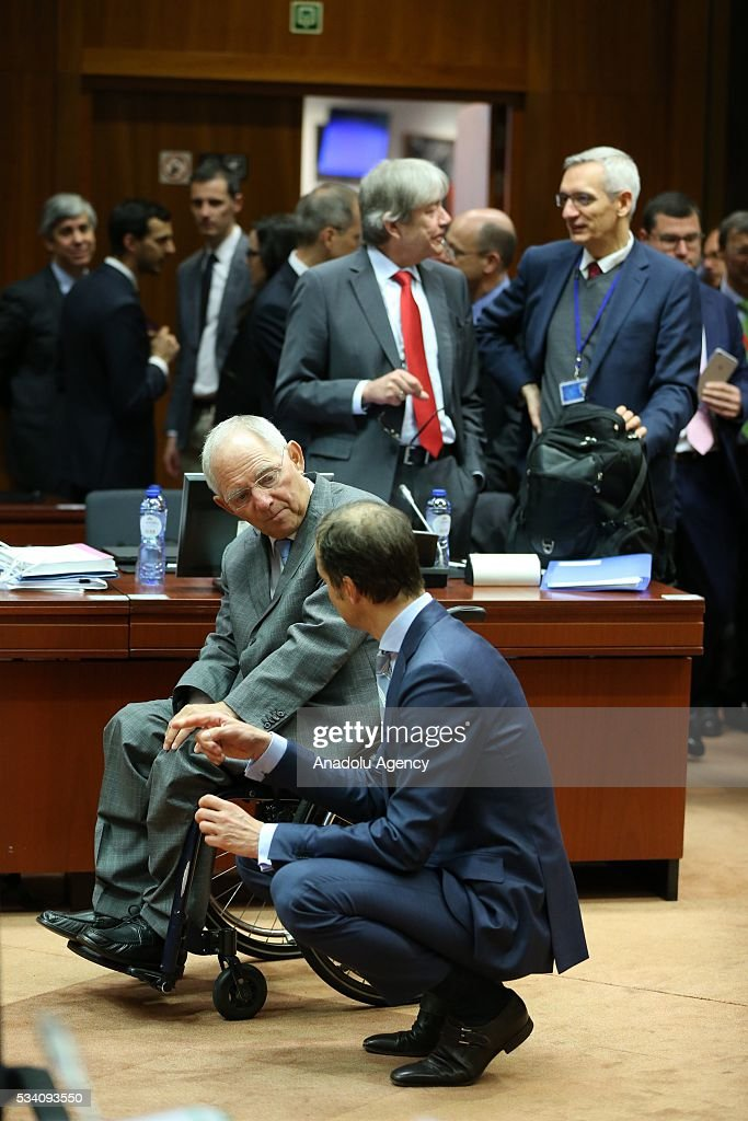 Dutch State Secretary of Finance Eric Wiebes (R) and Germany's Federal Minister of Finance, Wolfgang Schaeuble (R) attend EU economic and financial council meeting, in Brussels, Belgium on May 25, 2016.
