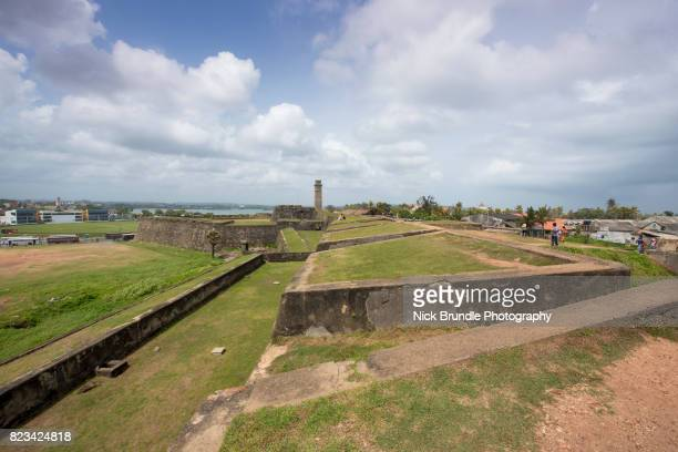 Dutch stone walls of Moon Bastion at Galle Fort, Sri Lanka