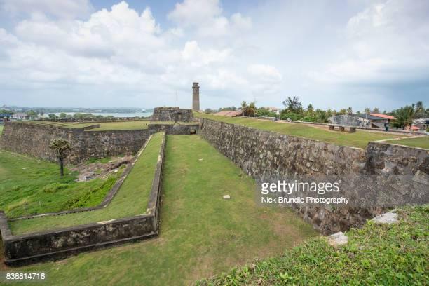 Dutch stone walls of Moon Bastion at Galle Fort, Sri Lanka