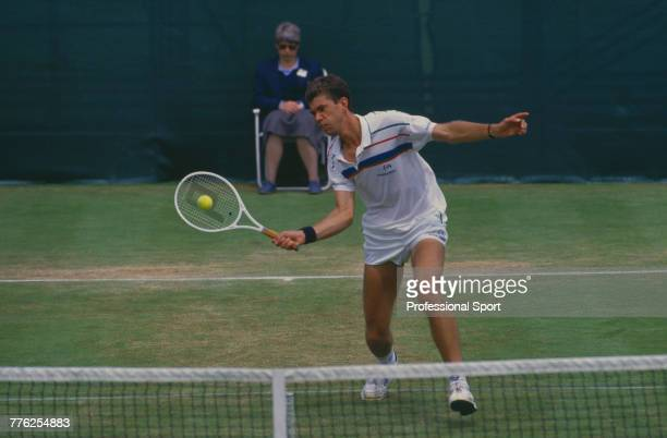 Dutch tennis player Michiel Schapers pictured in action during competition to reach the semifinals of the Men's Singles tennis tournament at the 1987...