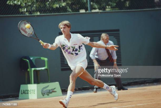 Dutch tennis player Paul Haarhuis pictured in action during progress to reach the third round of the Men's Singles tennis tournament at the 1990...