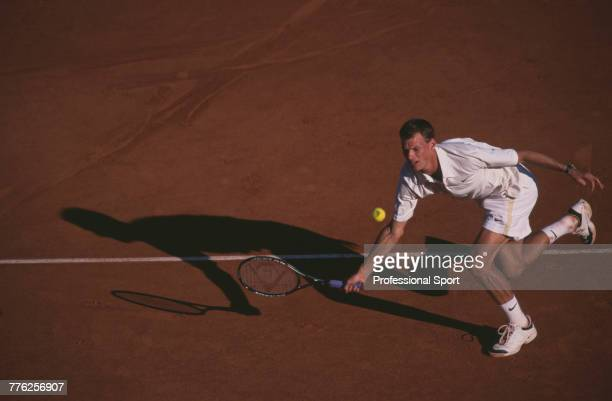 Dutch tennis player Sjeng Schalken pictured in action during competition to reach the quarterfinals of the Men's Singles tournament at the 2001 Monte...