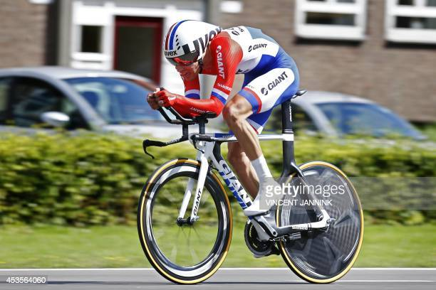 Dutch Tom Dumoulin of Team GiantShimano rides during the third stage an individual time race of the Eneco Tour in Breda The Netherlands on August 13...