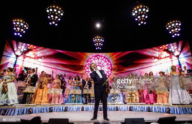 Dutch violinist and conductor Andre Rieu performs on stage with his Johann Strauss Orchestra Ziggo Dome Amsterdam Netherlands 07 January 2017