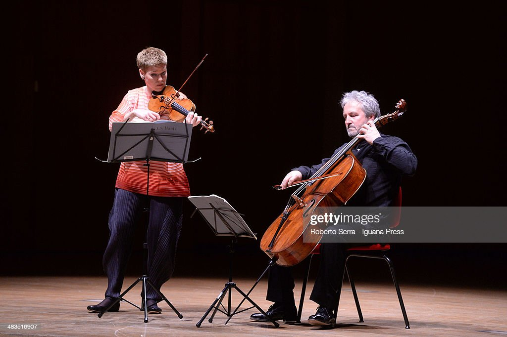 Dutch violinist Isabelle Faust performs with italian cellist Mario Brunello for Bologna Festival at Teatro Manzoni on March 31, 2014 in Bologna, Italy.