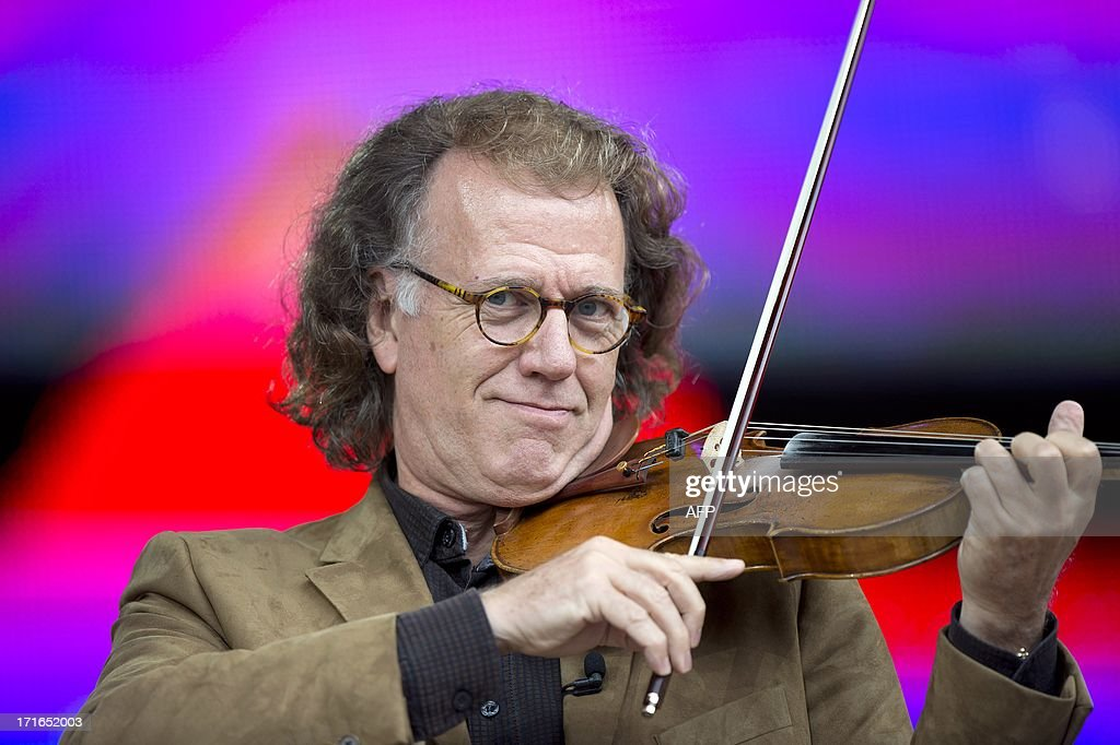 Dutch violonist Andre Rieu performs during the soundcheck at the Vrijthof square in the centre of Maastricht, on June, 27 2013. Rieu and his orchestra will perform from 28 June until 4 July 8 times in his hometown.