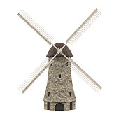 Dutch Windmill isolated on white background. 3D render