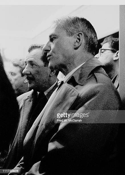 DutchAmerican artist Willem de Kooning and American painter Franz Kline stand together at the Sidney Janis Gallery New York New York March 9 1959...