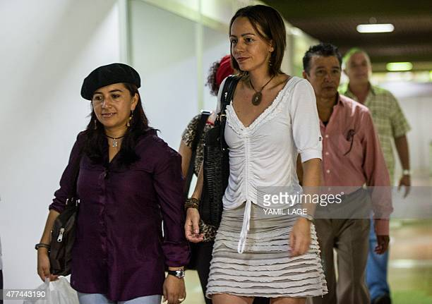 Dutchborn Revolutionary Armed Forces of Colombia guerrilla fighter Tanja Nijmeijer arrives at the Convention Palace in Havana for peace talks with...