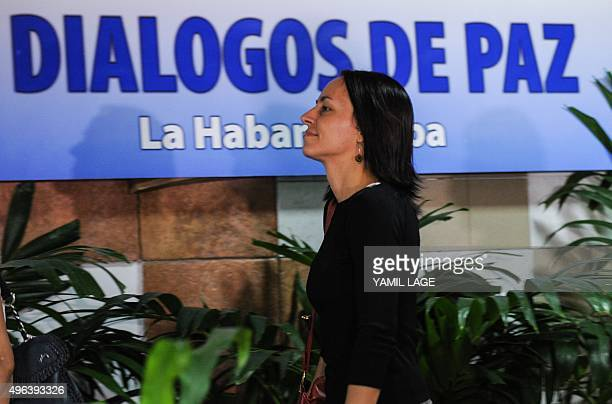 Dutchborn Revolutionary Armed Forces of Colombia guerrilla fighter Tanja Nijmeijer arrives at Convention Palace in Havana for the peace talks with...