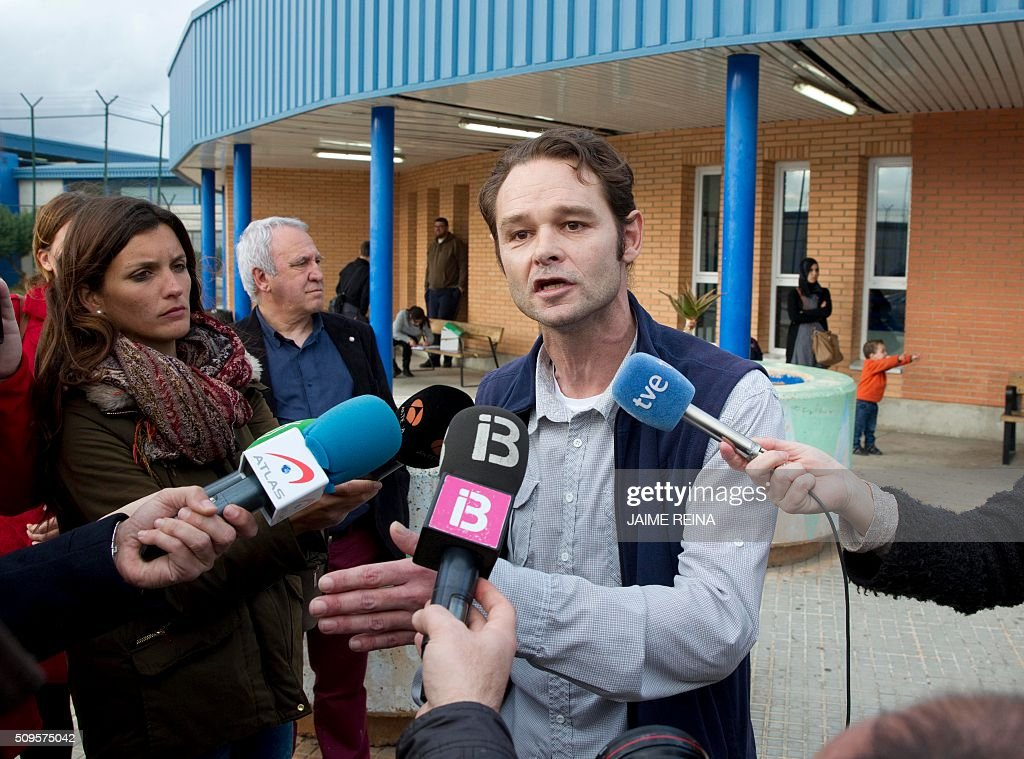 Dutchman Romano Liberto Van Der Dussen addresses journalists after leaving the prison of Palma de Mallorca where he was jailed for 12 years on February 11, 2016. Spain's Supreme Court today overturned a six-and-a-half year prison sentence for Van Der Dussen convicted of sexual assault after new DNA evidence emerged indicating that a British man was the culprit. REINA