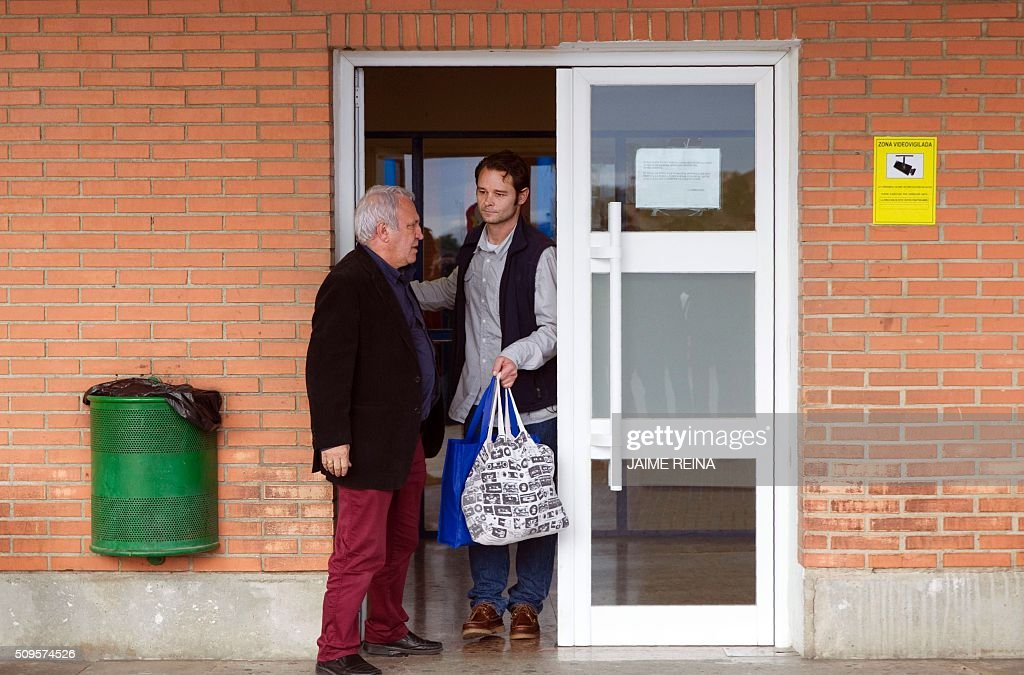 Dutchman Romano Liberto Van Der Dussen (R) leaves prison in Palma de Mallorca after being jailed for 12 years on February 11, 2016. Spain's Supreme Court today overturned a six-and-a-half year prison sentence for Van Der Dussen convicted of sexual assault after new DNA evidence emerged indicating that a British man was the culprit. REINA