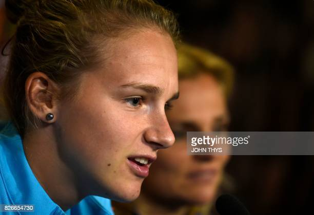 Dutch's forward player Vivianne Miedema and Dutch's head coach Sarina Wiegman give a press conference at the FC Twente Stadion in Enschede on August...