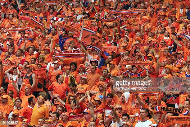 Dutch's team fans wave banners before the Euro2000 Group D first round match between France and The Netherlands 21 June 2000 at the Amsterdam ArenA...