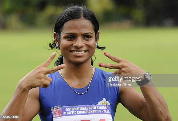 Dutee Chand seen during the 55th National Open Athletics Championships at SAI Complex on September 19 2015 in Kolkata India She will be the first...