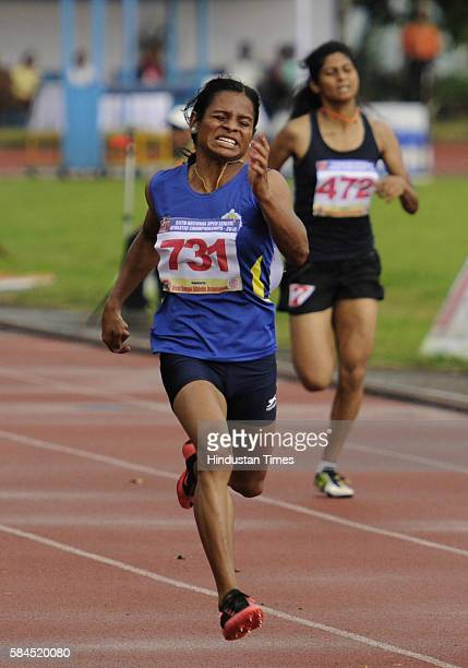 Dutee Chand seen in action during the 55th National Open Athletics Championships at SAI Complex on September 19 2015 in Kolkata India She will be the...