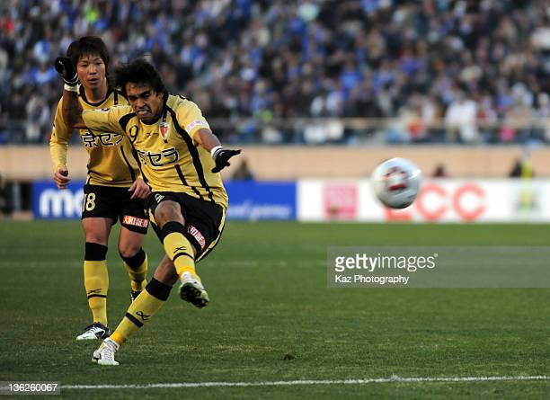 Dutra of Kyoto Sanga scores their second goal during the Emperor's Cup semi final match between Kyoto Sanga and Yokohama FMarinos at the National...