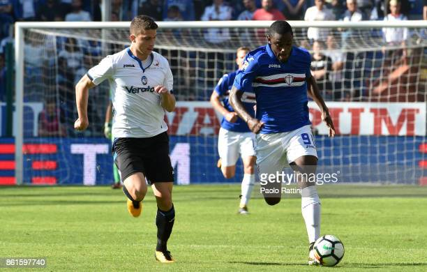 Duvan Zapata and Mattia Caldara during the Serie A match between UC Sampdoria and Atalanta BC at Stadio Luigi Ferraris on October 15 2017 in Genoa...
