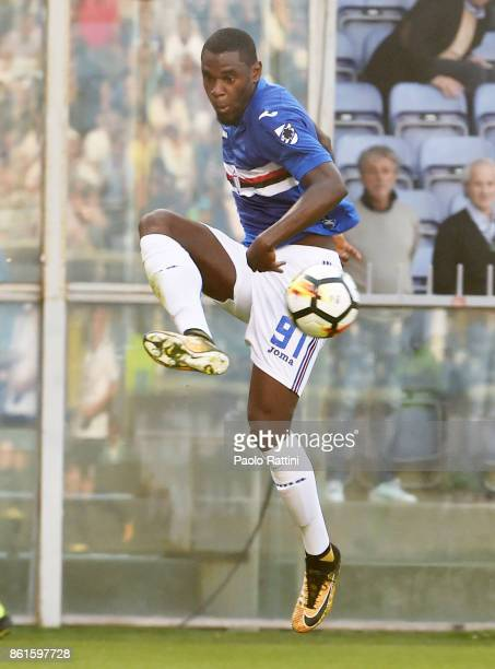 Duvan Zapata in action during the Serie A match between UC Sampdoria and Atalanta BC at Stadio Luigi Ferraris on October 15 2017 in Genoa Italy