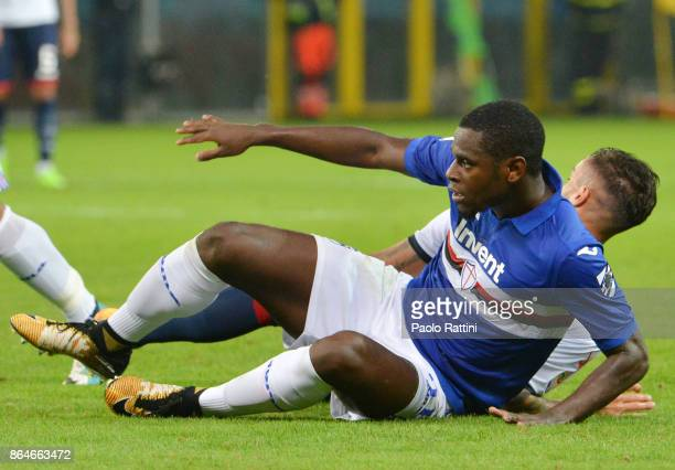 Duvan Zapata in action during the Serie A match between UC Sampdoria and FC Crotone at Stadio Luigi Ferraris on October 21 2017 in Genoa Italy