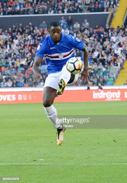 Duvan Zapata of UC Sampdoria control the ball during the Serie A match between Udinese Calcio and UC Sampdoria at Stadio Friuli on September 30 2017...