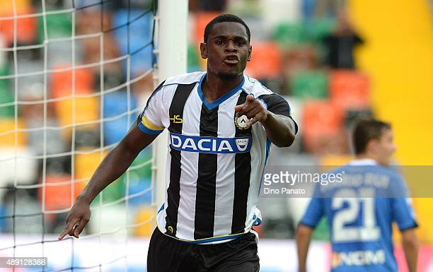 Duvan Zapata of Udinese Calcio celebrates after scoring his opening goal during the Serie A match between Udinese Calcio v Empoli FC at Stadio Friuli...